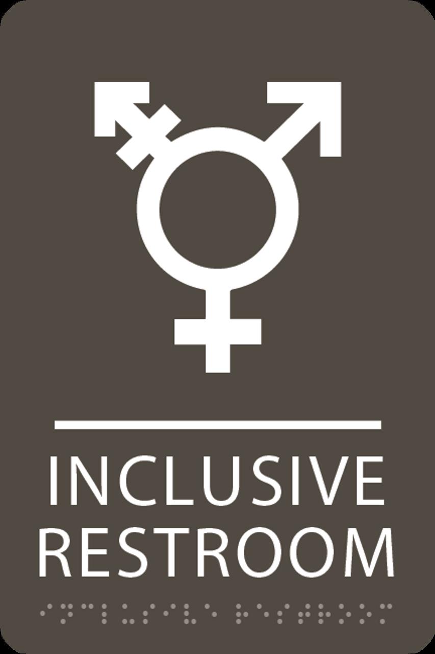 Olive Inclusive Restroom ADA Sign
