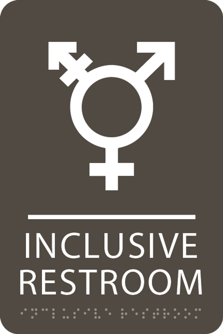 Olive Inclusive Restroom ADA Sign