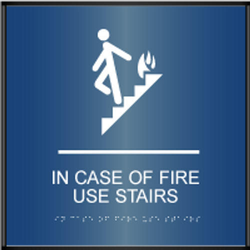 Curved ADA In Case of Fire Use Stairs Sign