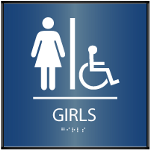 ADA Curved Girls Accessible Restroom Sign