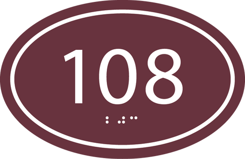 Oval ADA Room Number Sign with Border
