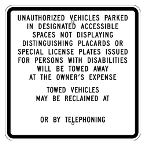 California Unauthorized Vehicles Sign