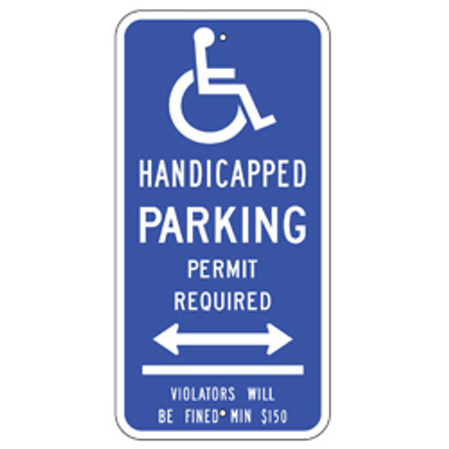 Connecticut Handicap Parking Permit Required Dual Arrow Sign