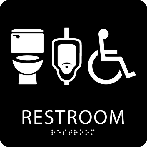 Black plastic restroom wall sign
