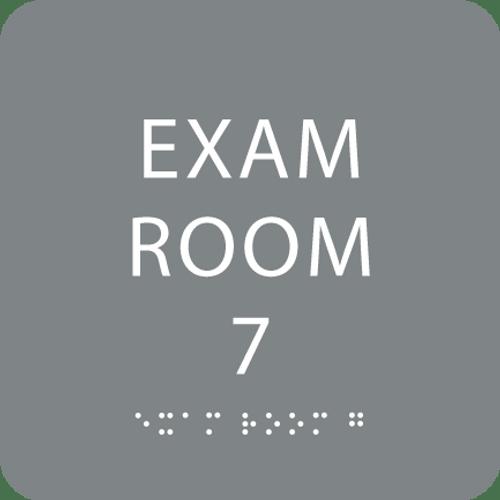 Grey Exam Room 7 Sign w/ ADA Braille