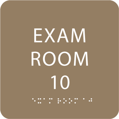 Light Brown Exam Room 10 Sign w/ ADA Braille