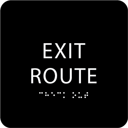 Black Tactile Exit Route Sign