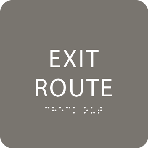 Clean Grey Tactile Exit Route Sign