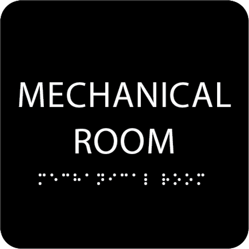 Black Tactile Mechanical Room Sign