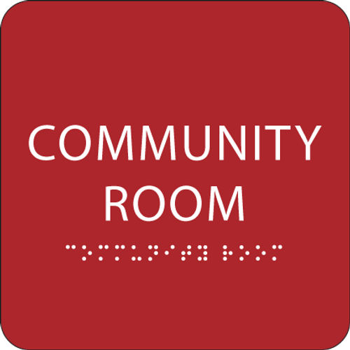 Red Community Room ADA Sign