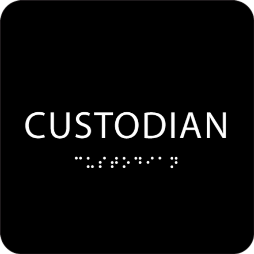 Black Custodian ADA Sign