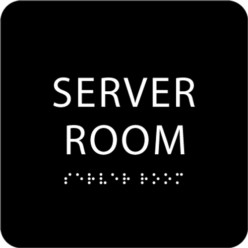 Black Server Room ADA Sign