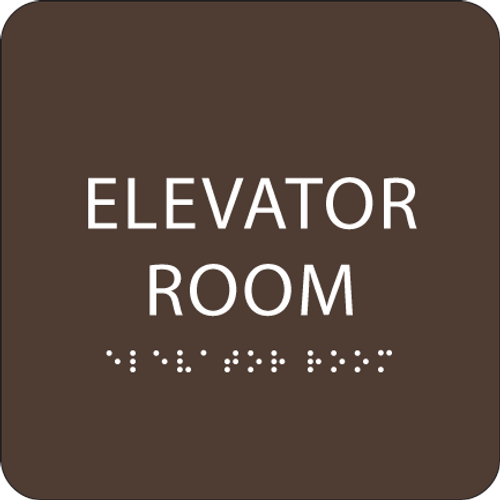Dark Brown Elevator Room ADA Sign