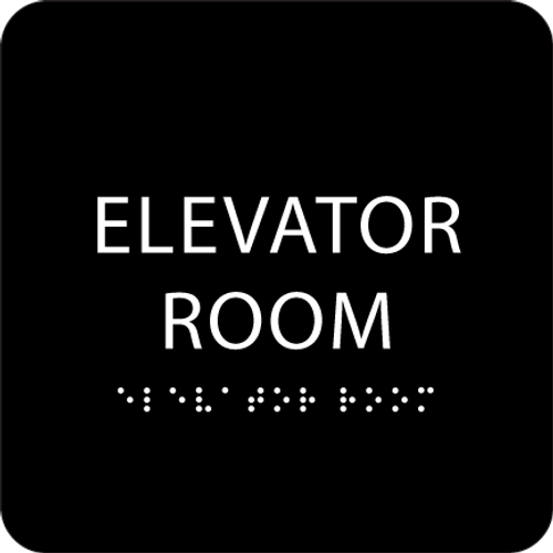 Black Elevator Room ADA Sign