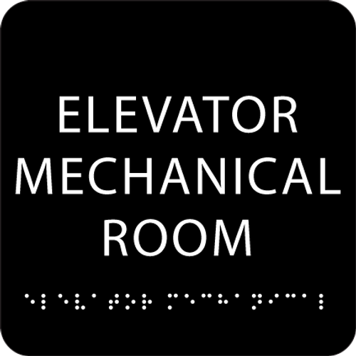 Black Elevator Mechanical Room ADA Sign