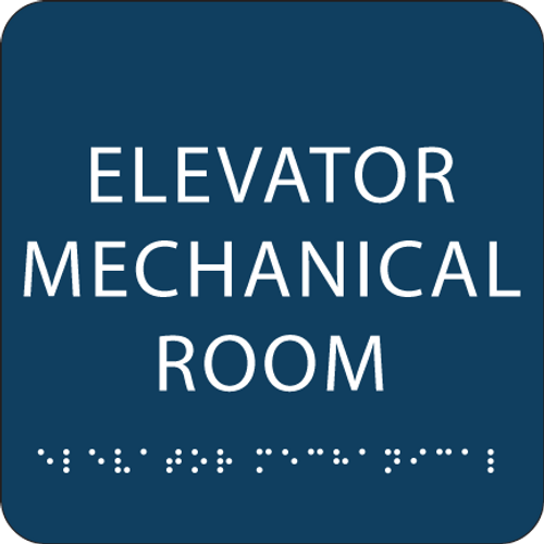 Dark Blue Elevator Mechanical Room ADA Sign