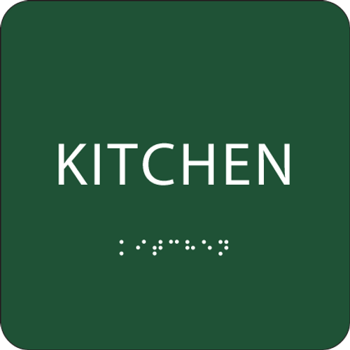 Green Braille Kitchen Sign