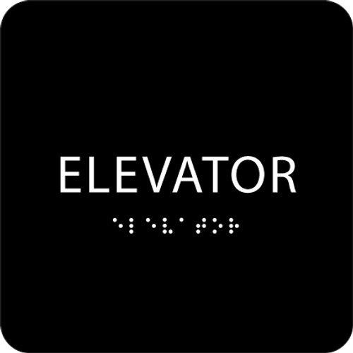 Black ADA Elevator Sign