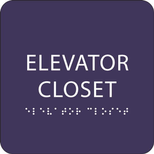Purple ADA Elevator Closet Sign