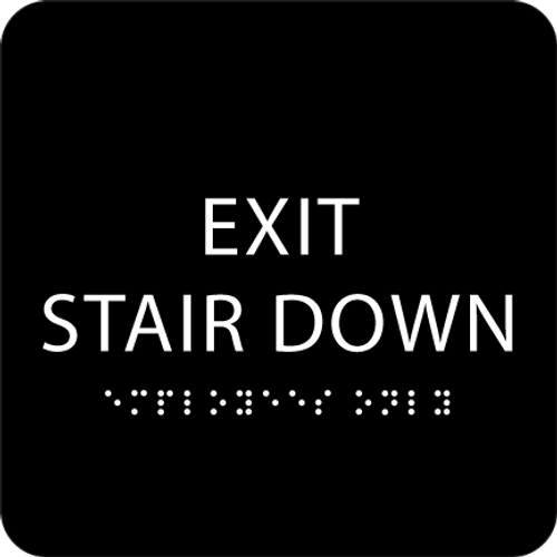Black Exit Stair Down ADA Sign