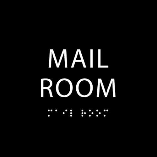 Black Mail Room ADA Sign