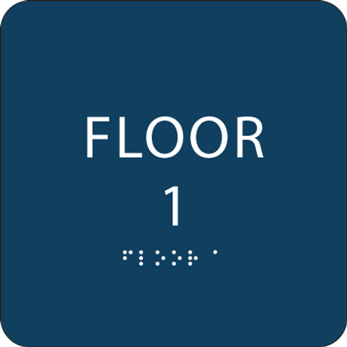 Dark Blue Floor 1 Identification Sign