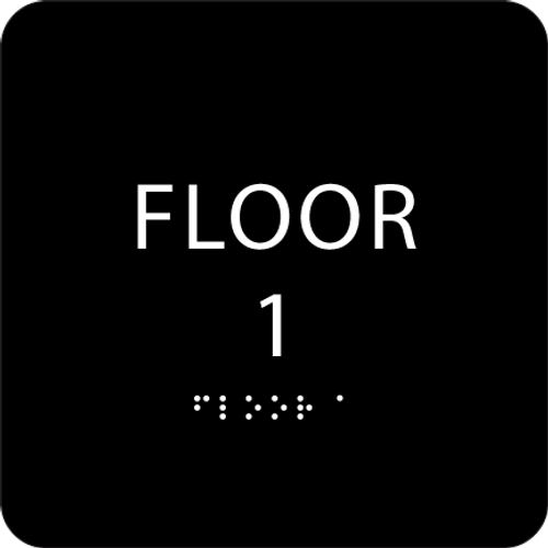 Black Floor 1 Identification Sign