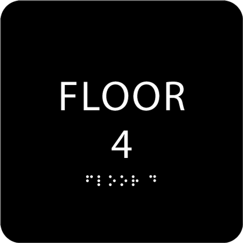 Black Floor 4 Identification Sign