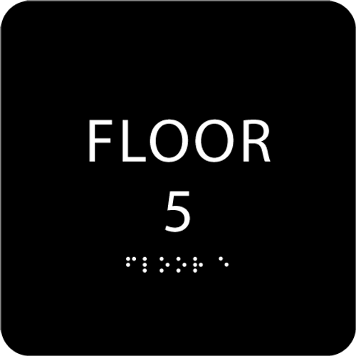 Black Floor 5 Level Identification Sign