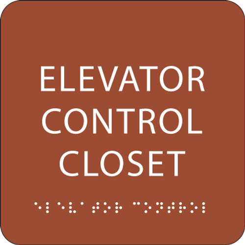 Orange Elevator Control Closet ADA Sign