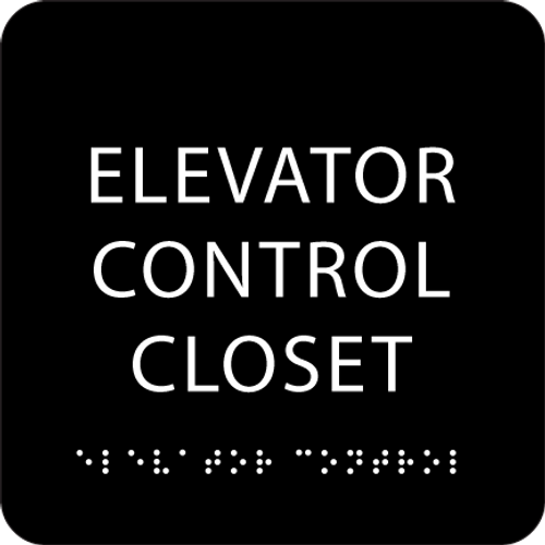 Black Elevator Control Closet ADA Sign