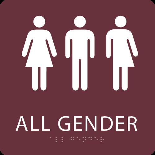 Burgundy All Gender Restroom Sign