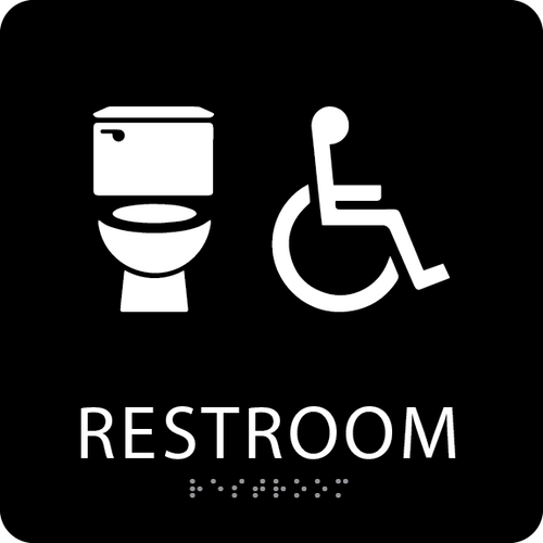 Black  Accessible Toilet Sign