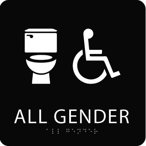 Black Accessible All Gender Toilet Sign