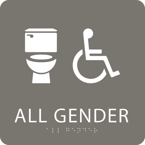 Dark Grey Accessible All Gender Toilet Sign