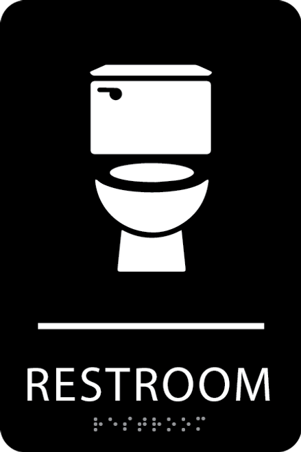 Black Toilet Restroom Sign