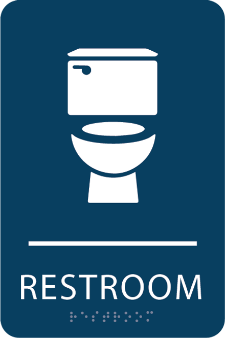Dark Blue Toilet Restroom Sign