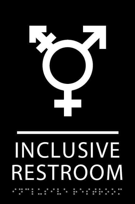 Black Inclusive Restroom ADA Sign