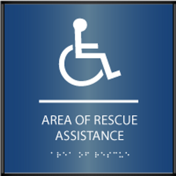 ADA Area of Rescue Assistance Curved Sign