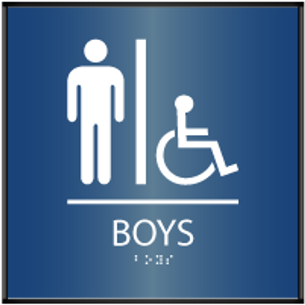 ADA Curved Boy's Accessible Restroom Sign