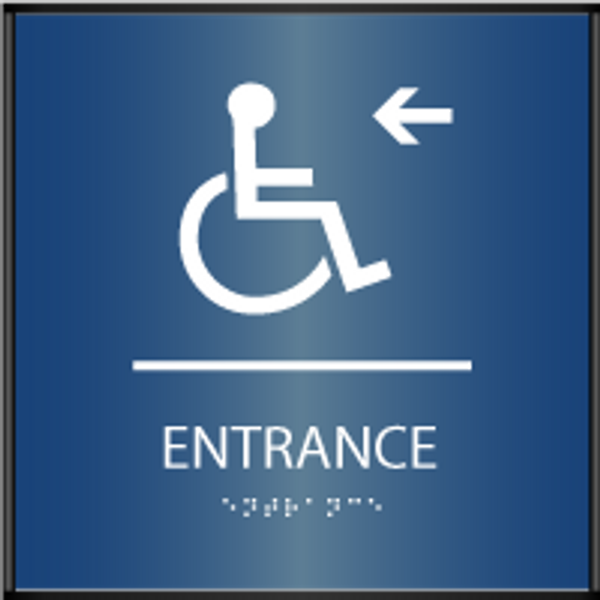 Curved Accessible Entrance Left ADA Sign