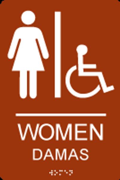 Women Spanish ADA Restroom Sign