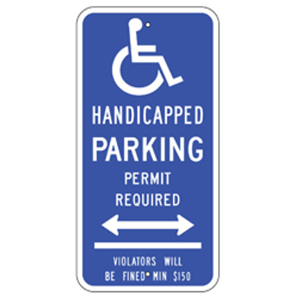 Connecticut Handicap Parking Permit Required Dual Arrow Sign