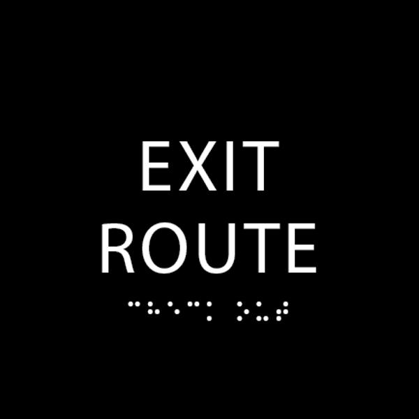 Black Tactile Exit Route Sign