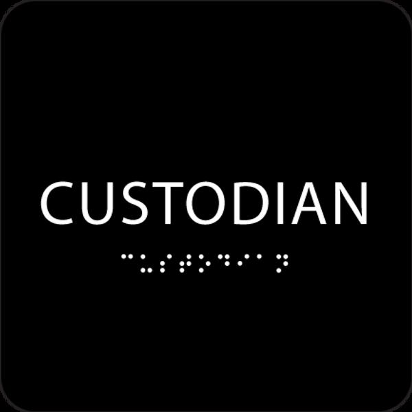 Black Custodian ADA Sign