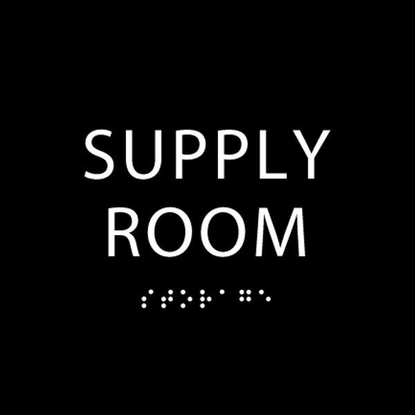 Black Supply Room ADA Sign