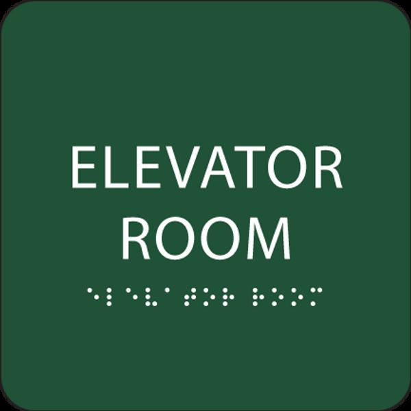 Green Elevator Room Tactile Sign