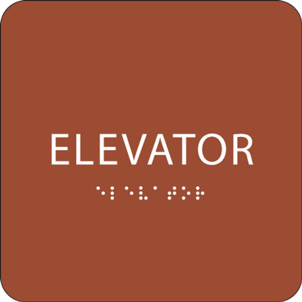 Orange ADA Elevator Sign