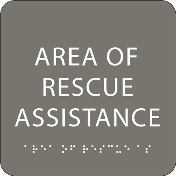 Dark Grey Area of Rescue Assistance ADA Sign