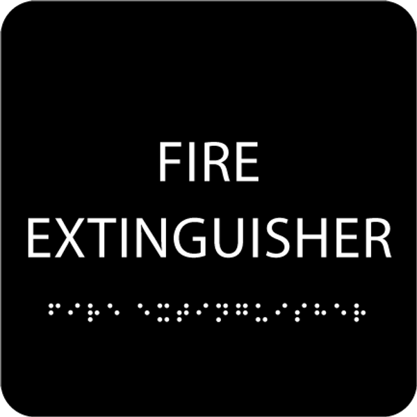 Black Fire Extinguisher ADA Sign